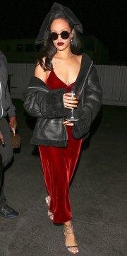 Rihanna Velvet Slip Dress