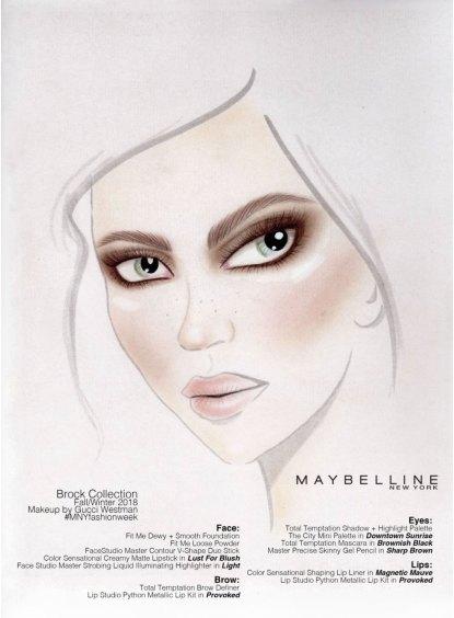 Brock FW 2018 Maybelline Beauty Chart