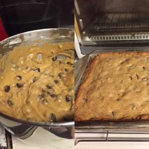 Drunk brownies batter on the left and final product on the right. These babies go fast.