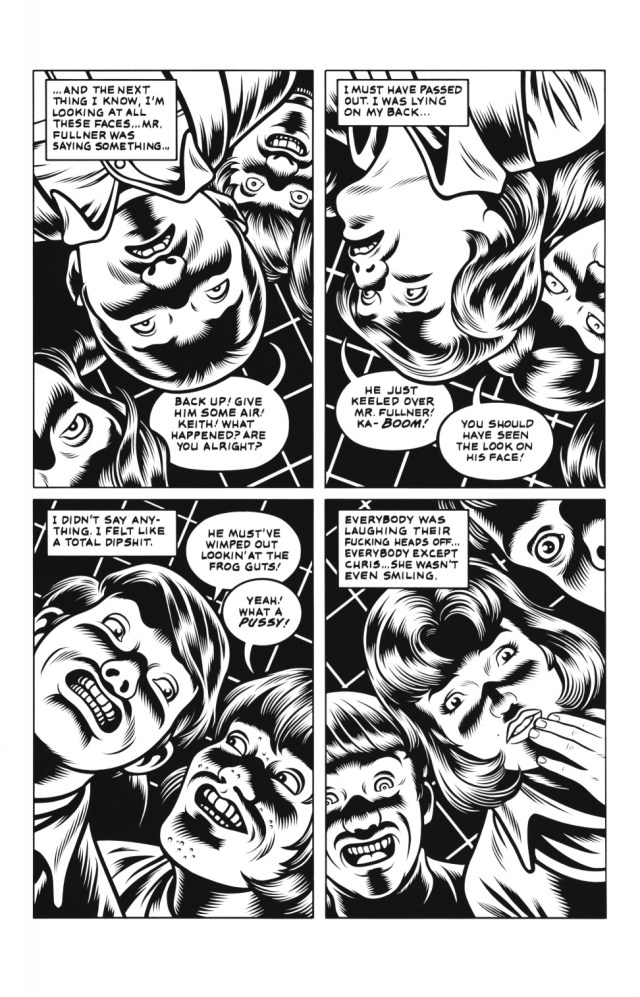 In Charles Burns' graphic novel, Black Hole, medical issues sometimes run secondary to teenage concerns (image credit = http://darkcornerbooks.com/)