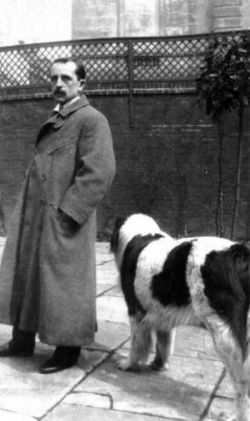 J. M. Barrie with his dog Luath, inspiration for Nana in Peter Pan