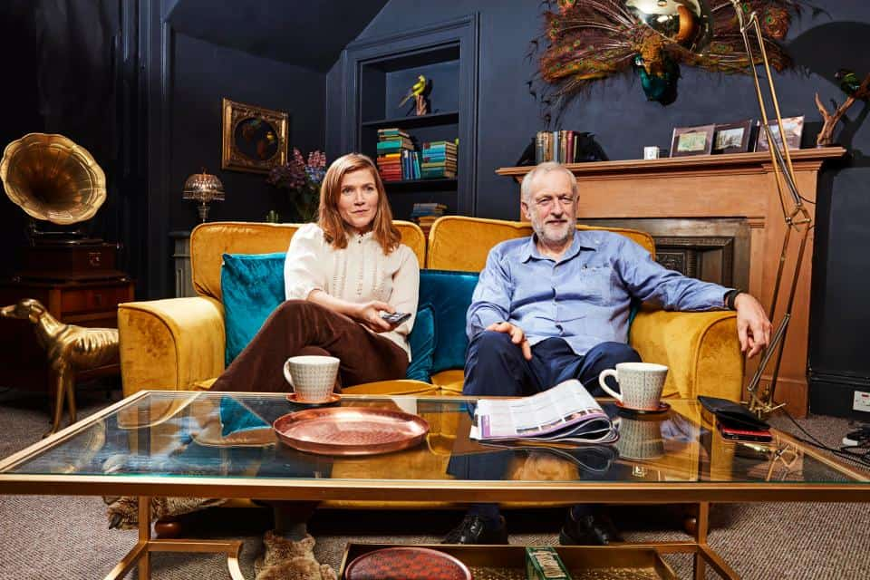 Jeremy Corbyn teams up with actress Jessica Hynes IMAGE: JUDE EDINGTON. CHANNEL 4 IMAGES MUST NOT BE ALTERED OR MANIPUL1ATED IN ANY WAY.