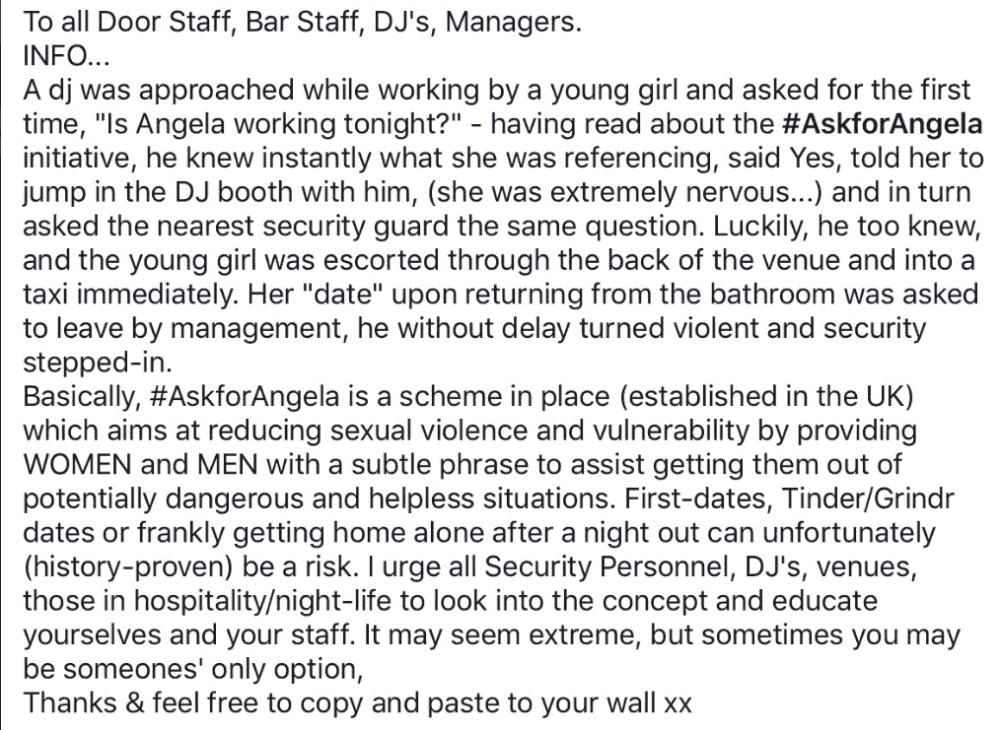 Go to the bar and #Ask for Angela For Discreet Help.