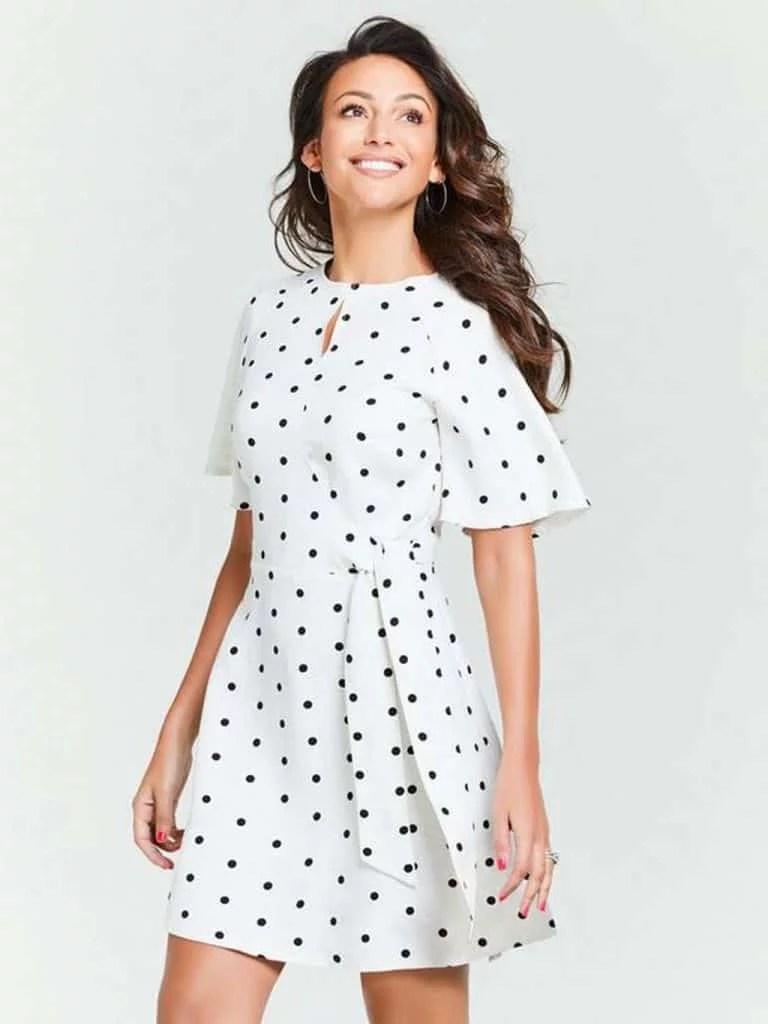 Michelle Keegan Spot Tie Waist Linen Skater Dress £40 - very.co.uk