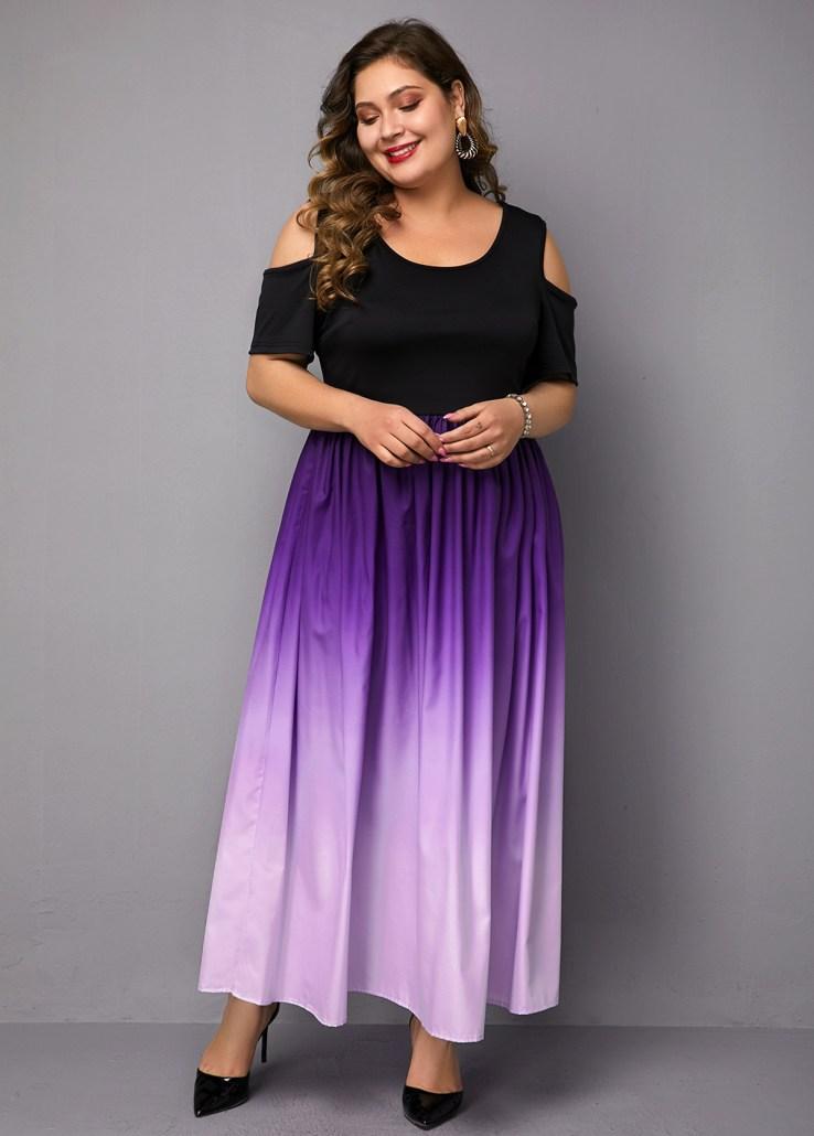 cold shoulder long plus size gown