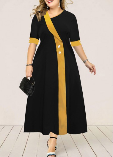 classic long black with yellow stripe gown plus size
