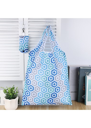 blue bag hanging on kitchen wall