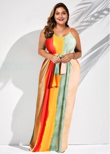 long rainbow spaghetti gown