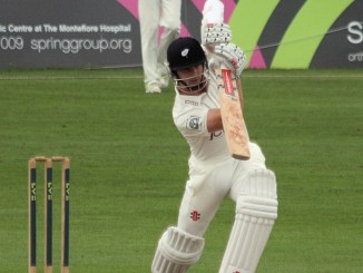 Photo of Kane Williamson driving the ball