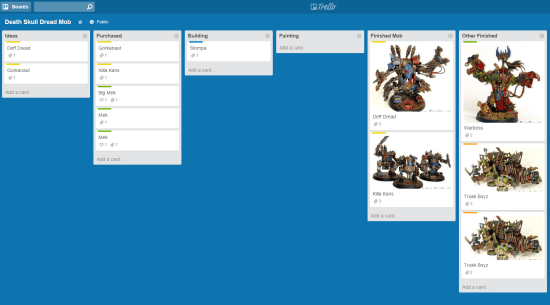 Using Trello to Plan 40k Army