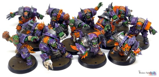 Ork Blood Bowl Team painted Orange and Purple