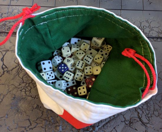 Dice bag holding dice