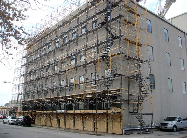 Scaffolding covers 222 First Street