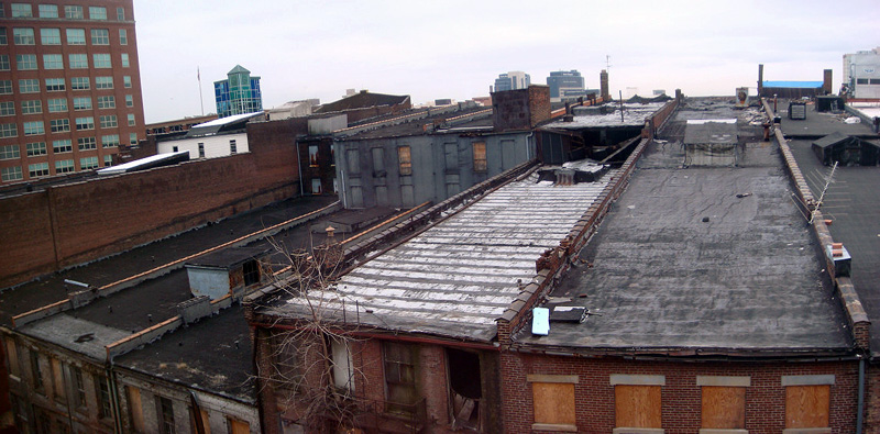 Deteriorated roof at the Iron Quarter block (BS File Photo)