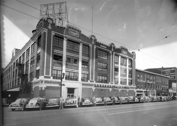 Historic view of the Progress Paint building
