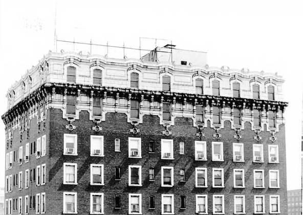 Cornice detail on the Tyler Hotel (National Register)