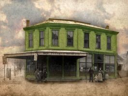 Photo of 800 Ash Street from circa 1910 (Courtesy Hartstern family, color added by Broken Sidewalk)
