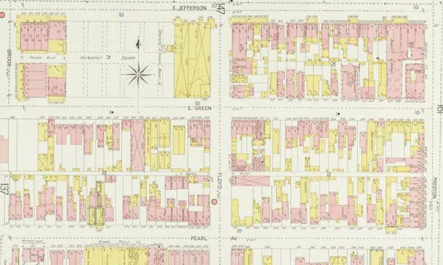 Haymarket & surroundings on Sanborn Map (Courtesy KYVL)
