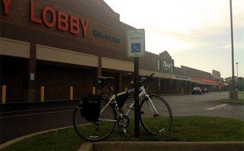 No bike parking at the Dutchmans Lane Shopping Center. (Erik Weber)