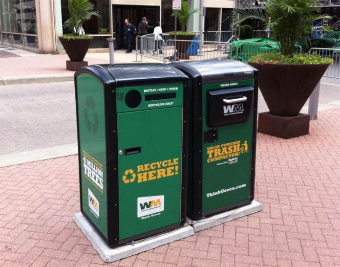Solar-powered compacting recycle bins on Fourth Street. (Broken Sidewalk)