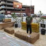 Patrick Piuma watches over the pop-up park at the Urban Design Studio. (Branden Klayko)
