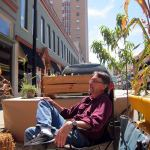 Michael McCoy enjoys Park(ing) Day at the Urban Design Studio. (Mary Beth Brown)