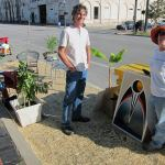 Amanda Fuller oversees Bicycling for Louisville's Park(ing) Day spot. (Mary Beth Brown)