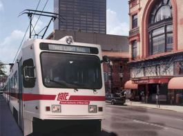 Rendering of T2 light rail on Market Street. (Courtesy TARC)