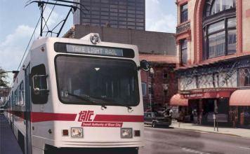 Rendering of T2 light rail on Market Street. (Courtesy TARC)