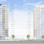 An elevation of the originally proposed towers. (Courtesy RiverPark Place / K Norman Berry)