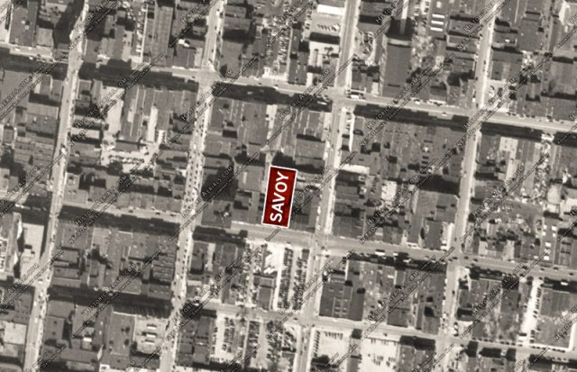 The site around the Savoy Theater in 1949. (Via Historic Aerials)