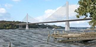 Proposed East End Bridge. (Montage based on rendering courtesy ORBP)