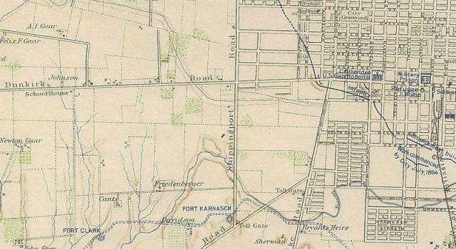 A Civil War-era map shows the area's lost watersheds. (Wikipedia)