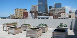 An urban farm atop a parking garage. (Branden Klayko)
