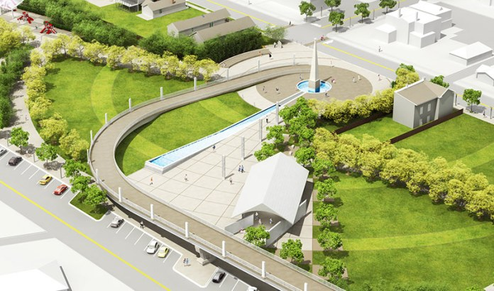 Aerial view of Big Four Station in Jeffersonville. (Courtesy The Estopinal Group)