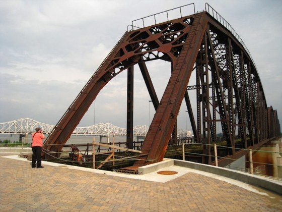 Big Four Bridge from the top of the spiral ramp. (Courtesy Waterfront Development Corporation)