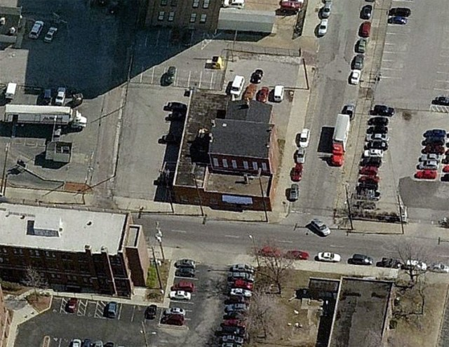 Aerial view of 721 South Preston Street. (Courtesy Bing)