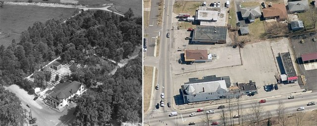 Colonial Gardens in the 1940s (left, courtesy UL Photographic Archives) and the same site today (right, courtesy Bing Maps).