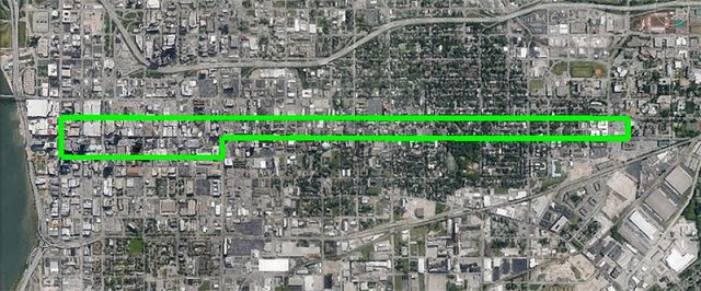 Route of a proposed streetcar line along the Fourth Street corridor. (Courtesy An Old Way Forward)