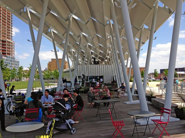 A beer garden in a new waterfront park in Queens. (Branden Klayko / Broken Sidewalk)