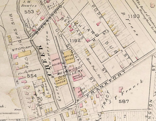 The site as it likely appeared in 1884 according to the Atlas of the City of Louisville, Ky. and Environs.