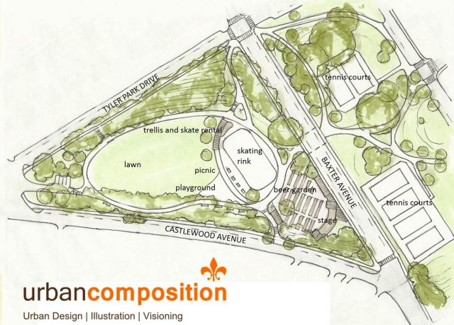 Site plan for a proposed beer garden and skating rink in Tyler Park. (Courtesy Urban Composition)