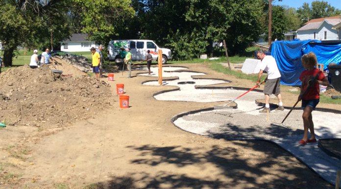 The Peace Labyrinth under construction. (Courtesy Ramona Lindsey)