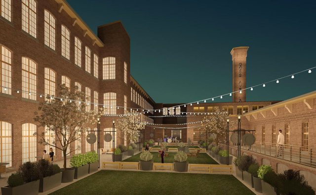 Rendering of the planned courtyard at the Germantown Mill Lofts. (Courtesy Underhill Associates)