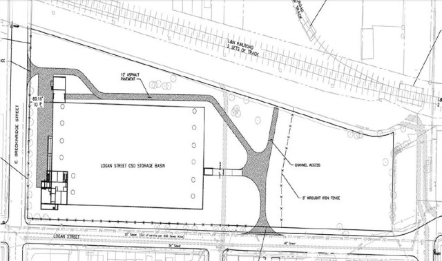 Site plan for the Logan Street CSO Basin at Logan and Breckinridge streets. (Courtesy MSD)