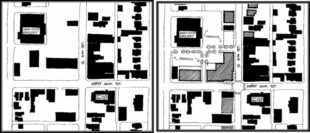 The Old Louisville neighborhood plan includes figure ground diagrams of the current, left, and potential, right, urban edge along Oak Street. (Courtesy Metro Louisville)
