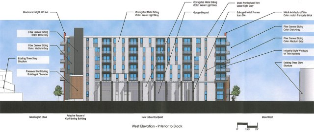 The mid-block facade of the Clay & Main development. (Courtesy Bristol Development Group)