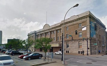 Louisville's armory as it appears today along Muhammad Ali Boulevard. (Courtesy Google)