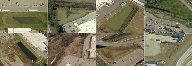 Storm retention basins at 8 Louisville-area Walmart Supercenters. (Courtesy Bing)