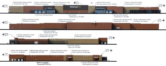 Elevations of the planned Walmart. (Courtesy Walmart)